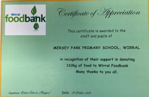 Wirral Food Bank Thank You Mersey Park Primary School